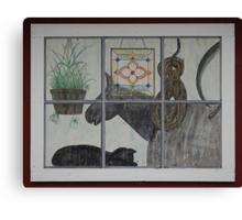 Painted Window Scene Canvas Print