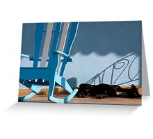 Sleeping dog & rocking chair, Cuba Greeting Card