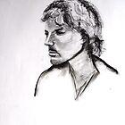 Charcoal Portrait Of David. by Richard  Tuvey