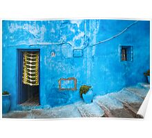 Blue Wall with Green Curtain Poster