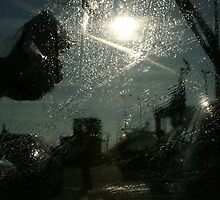 Washing the Windscreen at Dover - ready for the trip across France! by JenStone