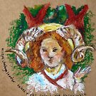 Aries in oil pastel (Rossetti Study) by Jessica Lister