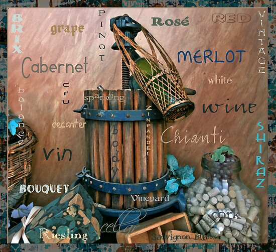 World Of Wine Art Poster by Jamie Wogan Edwards