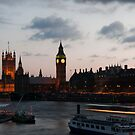 Big Ben from the river at night by Dan Treasure