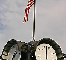 Clock, temperature and a flag by Carlanne McCrystal