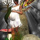 Baby Shower Card - African American Pregnant Fairy by Moonlake