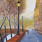 Autumn Morning Along The Seine by Denise Martin