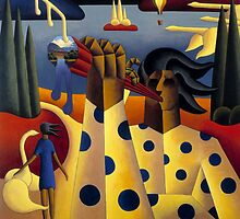 structured Musician maam valley with swans and lady by Alan Kenny