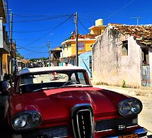 Cuban Red Vintage Car by JengaPix