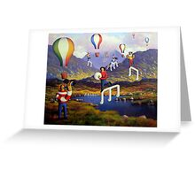Connemara   Landscape with musicians balloons and notes Greeting Card