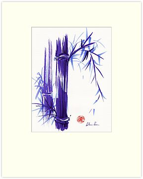 &#x27;Spring&#x27; Original ink and wash lavender bamboo painting by Rebecca Rees