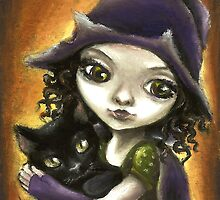 Little witch and black kitten by Tanya Bond by tanyabond