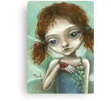 Irish Pixie - beautiful little fairy and a ladybird  Canvas Print