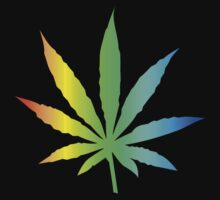 Rainbow Marijuana Leaf by MarijuanaTshirt