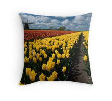 Out In the Tulip Fields Throw Pillow