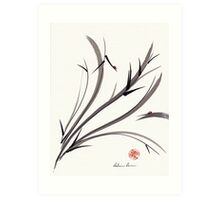 """My Dear Friend""  Original ink and wash ladybug bamboo painting/drawing Art Print"