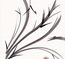 """My Dear Friend""  Original ink and wash ladybug bamboo painting/drawing by Rebecca Rees"