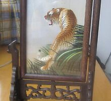 Chinese hand embroidery tiger revolving mini-screen by xpcraft