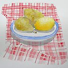 Pears and lemon on a check cloth by Sue Brown