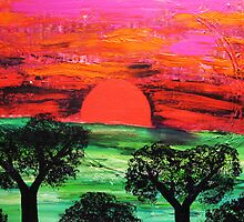Time to Dream - Sunset, shadowed Trees by emelisa