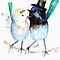Wedding Card or Invitation - Blue Birds Bride &amp; Groom by Trish Loader