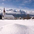 beautiful bohinsjska Bistrica and its church by Ian Middleton