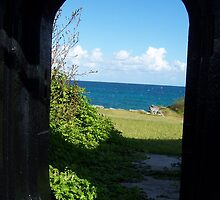 View of the ocean through port hole by joyfulphotos