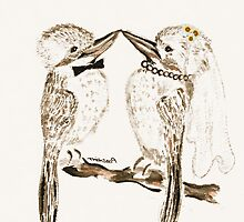 Bride and Groom Australian Kookaburras Wedding Card by Trish Loader