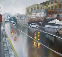 Rainy Day - Wet street in Sydney by Tash  Luedi Art