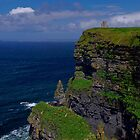 The Cliffs of Moher and O'Briens Tower by Sandra Dunlap