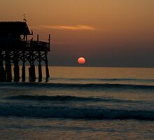 Sunrise at Cocoa Beach Peir by Michelle Anderson