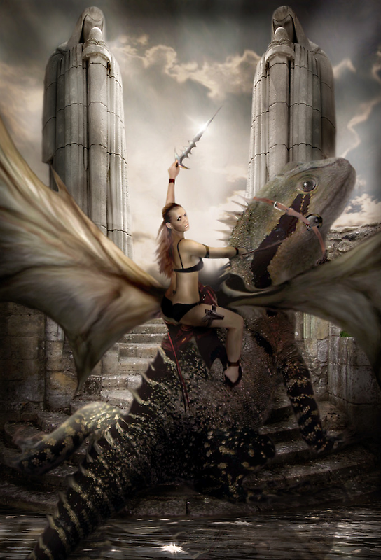 My wife on a Dragon  by Cliff Vestergaard