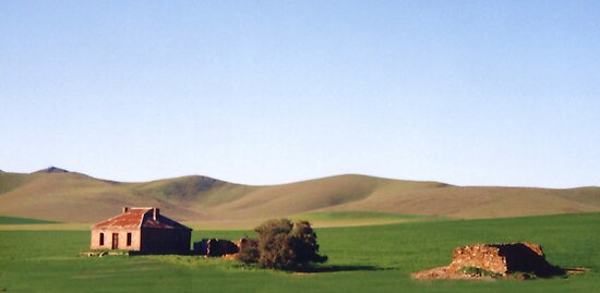 Old Farmhouse and Rolling Hills by Michael John