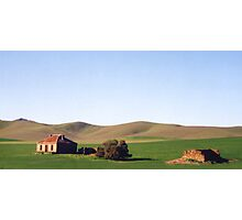 Old Farmhouse and Rolling Hills Photographic Print