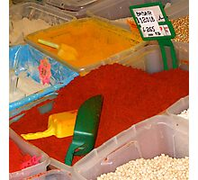 Vibrant coloured spices on the Leeds Kirkgate market Photographic Print