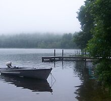Foggy Lake #2 with boat and dock by SheilaBailey
