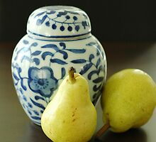 Blue, white and yellow still life by winosandfoodies
