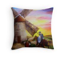 Don Quixote's Windmill Adventure Throw Pillow