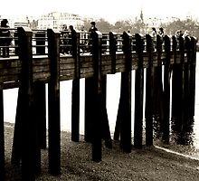 River Thames - Foot Bridge (sepia) by JanMurphy