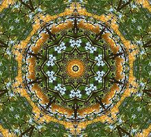 Yellow Tree Flower Kaleidoscope Art 7 by Christopher Johnson