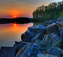 Sun Setting on a Lake by Michael Mill