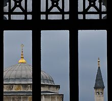 minaret through the window- Istanbul by David Chesluk
