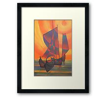 Red Sails in the Sunset Cubist Junk Abstract Framed Print