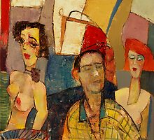''Topless Waitress'' 20'' x 20'' oil on canvas $2000 by Pierre Huot