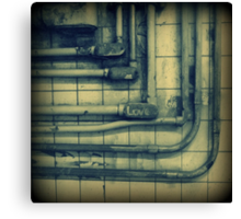 Love & rusted subway pipes Canvas Print
