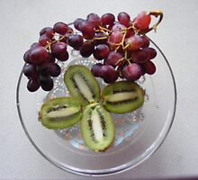 Red grapes and kiwi by Livvy Young