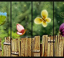 Flowerflies by the Fence by bicyclegirl
