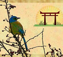 Female Jay and Pagoda by bicyclegirl