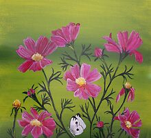 Cosmos and the moth_In my garden by Sherida Parker