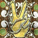 Peace Sign 2 Retro Neon by Anthony Ross